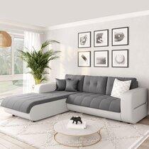 Canapé d'angle à gauche convertible en tissu gris et blanc - SIRIUS