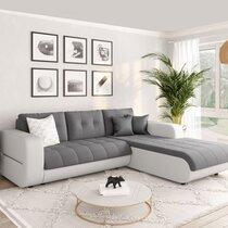Canapé d'angle à droite convertible en tissu gris et blanc - SIRIUS