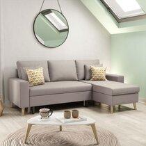 Canapé d'angle réversible avec coffre beige - COLORADO