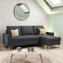 Canapé d'angle réversible avec coffre gris foncé - COLORADO