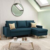 Canapé d'angle réversible avec coffre bleu foncé - COLORADO