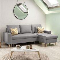 Canapé d'angle réversible avec coffre gris clair - COLORADO
