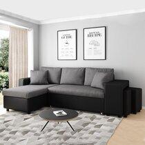 Canapé d'angle à gauche convertible avec poufs noir et gris - MASSIMO