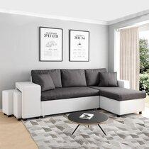 Canapé d'angle à droite convertible avec poufs blanc et gris - MASSIMO
