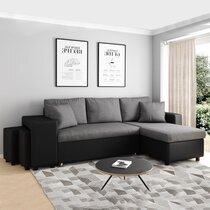 Canapé d'angle à droite convertible avec poufs noir et gris - MASSIMO