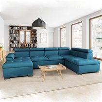 Canapé panoramique convertible avec coffre bleu - KASSI