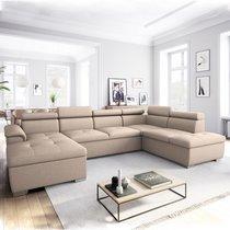 Canapé panoramique convertible avec coffre beige - KASSI