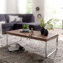 Table basse 120 cm en bois massif et métal naturel