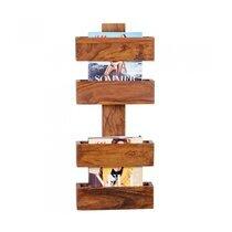 Porte-revues 4 compartiments en bois massif naturel