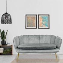 Canapé 2 places 140 cm en velours gris et doré