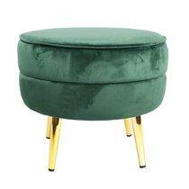 Pouf rond 40x40 cm en velours vert et doré