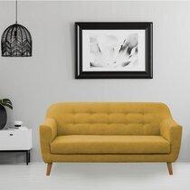 Canapé 2 places en microfibres jaune moutarde - ANNECY