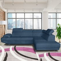 Canapé d'angle à droite en tissu polyester bleu marine - FIORINA