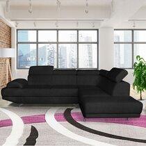 Canapé d'angle à droite en tissu polyester noir - FIORINA