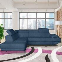 Canapé d'angle à gauche en tissu polyester bleu marine - FIORINA