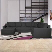 Canapé d'angle à droite convertible en tissu gris foncé - DAVID