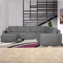 Canapé d'angle à droite convertible en tissu gris clair - DAVID