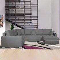 Canapé d'angle à gauche convertible en tissu gris clair - DAVID