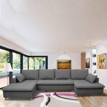 Canapé panoramique d'angle à gauche en tissu anthracite - MERIBEL