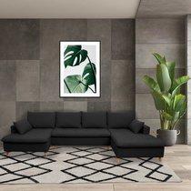 Canapé panoramique d'angle à droite en tissu noir - MERIBEL