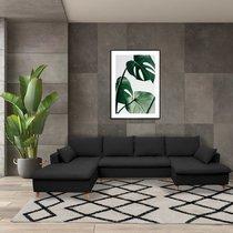 Canapé panoramique d'angle à gauche en tissu noir - MERIBEL