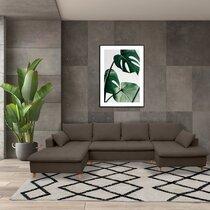 Canapé panoramique d'angle à gauche en tissu gris foncé - MERIBEL