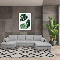 Canapé panoramique d'angle à droite en tissu gris clair - MERIBEL