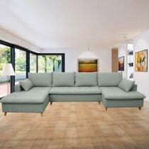 Canapé panoramique d'angle à gauche en tissu vert grisé - MERIBEL