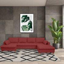 Canapé panoramique d'angle à droite en tissu bordeau - MERIBEL