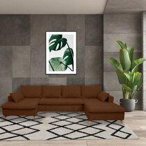 Canapé panoramique d'angle à droite en tissu marron - MERIBEL
