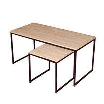 Lot de 2 tables basses 100 et 40 cm naturel et noir