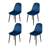 Lot de 4 chaises repas 44x53x88 cm en velours bleu foncé