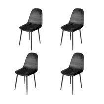 Lot de 4 chaises repas 44x53x88 cm en velours noir