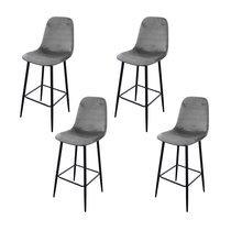 Lot de 4 chaises de bar H74,5 cm en velours gris