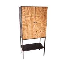 Meuble bar 2 portes 73,5x40x157 cm en sapin naturel et fer