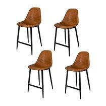 Lot de 4 chaises de bar 47x58x98 cm en PU cognac