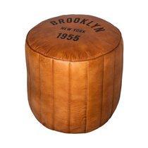 Pouf rond brooklyn New York 42x44 cm en cuir cognac