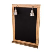 Tableau noir avec 2 lampes 70x15x100 cm en manguier naturel
