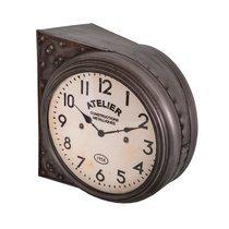 Horloge double face 37,5x40x31 cm en fer marron