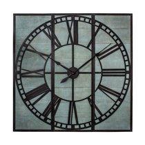 Horloge industrielle 3 parties 114 cm en bois gris et fer