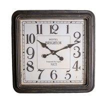 Horloge Hôtel Brighton carrée 60 cm en verre et fer gris