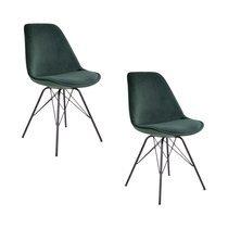 Lot de 2 chaises 55x48x86 cm en velours vert  - LUCIE