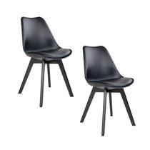 Lot de 2 chaises 55x48x87 en PU noir et pieds noir - LUCIE