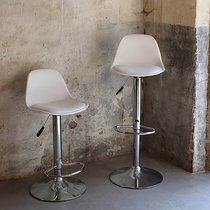 Lot de 2 chaises de bar 41x39x82-104 cm en PU blanc