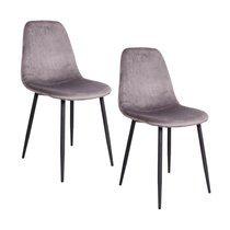 Lot de 2 chaises repas en velours gris - DOLVA