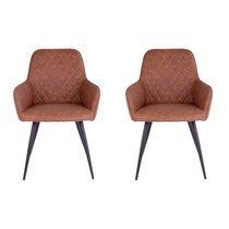 Lot de 2 fauteuils repas 65x57x87 cm en PU marron - NYLA
