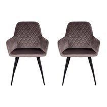 Lot de 2 fauteuils repas 65x57x87 cm en velours noir - NYLA