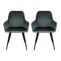 Lot de 2 fauteuils repas 65x57x87 cm en velours vert - NYLA