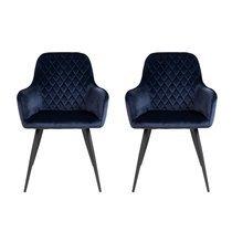 Lot de 2 fauteuils repas 65x57x87 cm en velours bleu foncé - NYLA