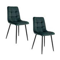 Lot de 2 chaises 55x44x86 cm en velours vert foncé - GELLER